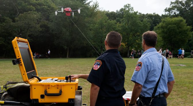 New York City firefighters use drone to help battle blaze