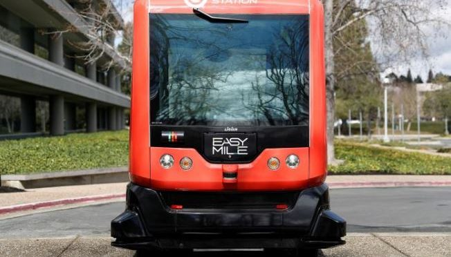 Self-driving bus with no back-up driver nears California street