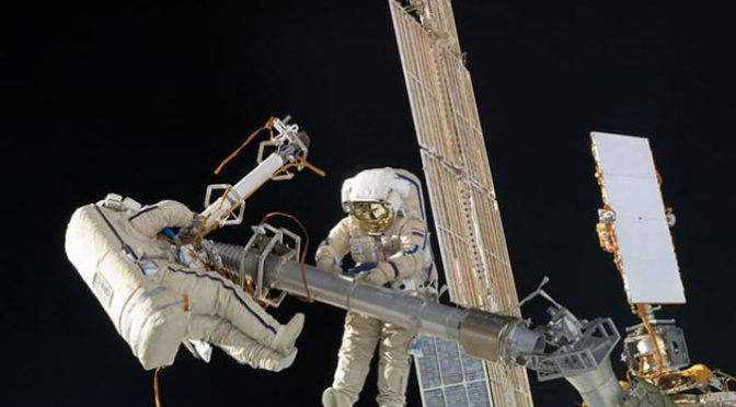 Cosmonauts break record of longest Russian spacewalk